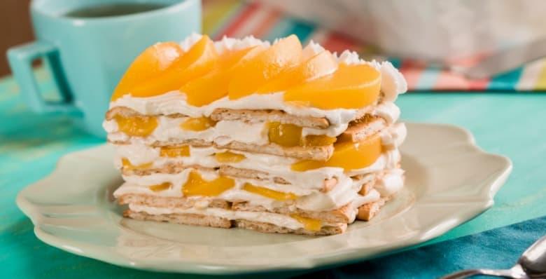 receta de pastel con duraznos y galleta maria