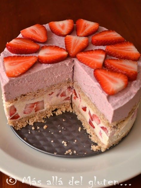tarta de fresas sin hornear